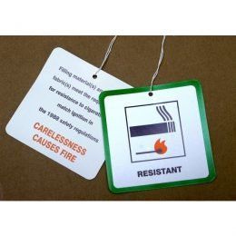Fire-resistant labels on pillows