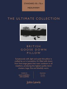 ohn Lewis British Goose Down pillow boxed